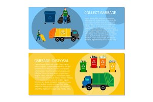 Garbage disposal concept banners