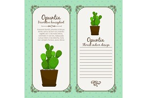Vintage label with opuntia plant