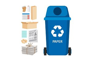Blue garbage can with paper elements