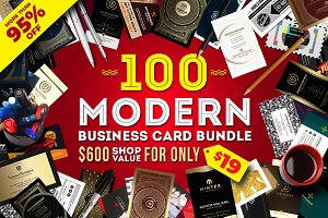 100 Modern Business Card Bundle