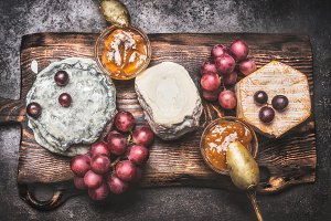 Rustic tasty cheese plate
