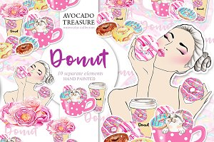 Watercolor Donut Clipart,Party