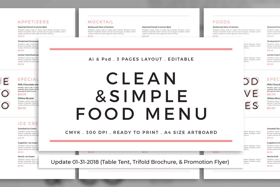 12c22d76dd1 Clean   Simple Food Menu + Update ~ Flyer Templates ~ Creative Market