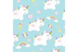 Childish seamless pattern with fairy unicorns. Scandinavian style. Childish texture for fabric.