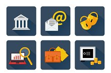 Icon set for finance and banking