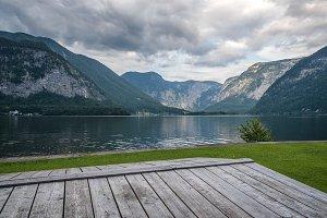 Scenic view of Hallstatt lake in Austrian Alps