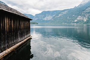 Scenic view of Hallstatt lake and cottage in Austrian Alps