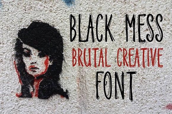 Black Mess Brutal Creative Font
