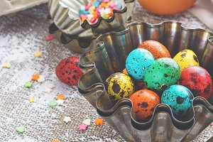Colored easter eggs and baking molds