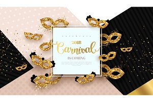 Carnaval card with golden masks