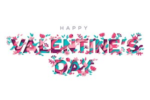 Valentines day typography with floral elements