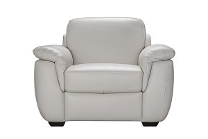 Gray leather armchair.