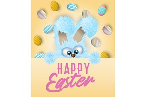 Happy Easter greeting card with painted or decorated eggs and blue fluffy bunny that is peeping out.