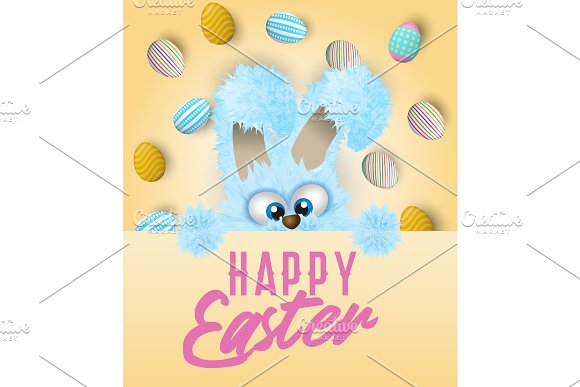 Happy Easter Greeting Card With Painted Or Decorated Eggs And Blue Fluffy Bunny That Is Peeping Out