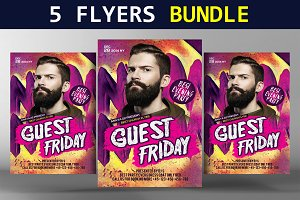 5 Dj Guest Party Flyers Bundle
