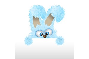 Blue Easter bunny is looking out. Fluffy rabbit. Vector illustration with copyspace or textarea.