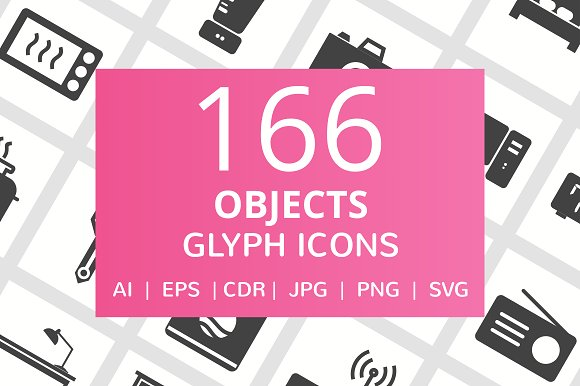 166 Objects Glyph Icons