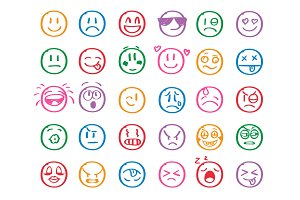 Modern outline style emoji icons collection. Premium quality symbols and sign web logo collection. Pack modern infographic logo and pictogram. Simple emoticons pictograms.