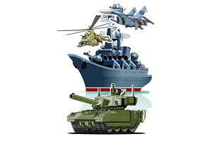 Set of cartoon military equipment