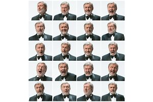 The mosaic of businessman expressing and different emotions. The bearded businessman with suit with 20 different emotions.