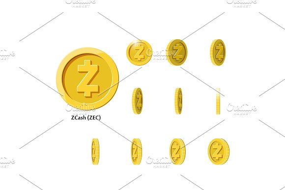 Gold Rotate Zcash Coin Frames