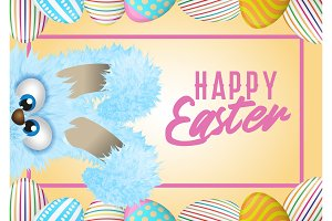 Happy Easter greeting card with painted or decorated eggs and blue fluffy bunny that is hiding.