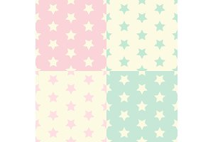 Cute set of geometric seamless patterns with stars