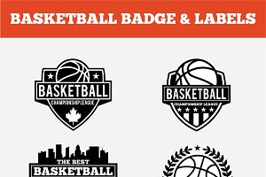 BASKETBALL BADGE & LABELS VOL1
