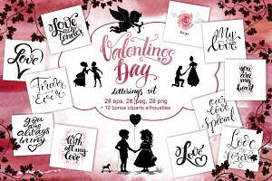 Valentine`s day lettering set
