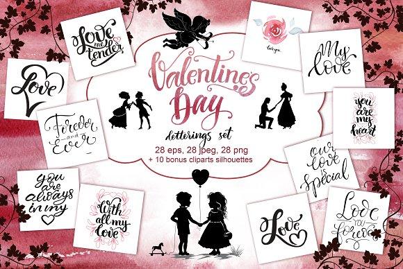 Valentine`s Day Lettering Set