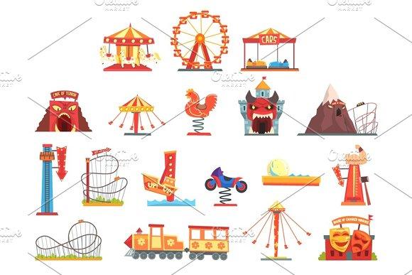 Amusement Park Elements Set Funfair Attraction Colorful Cartoon Vector Illustrations