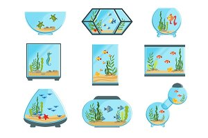 Aquarium tanks set, different types of aquariums with plants and fish detailed vector Illustrations