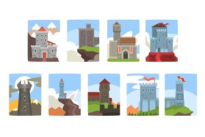Ancient castles and fortresses set, medieval architecture landscape