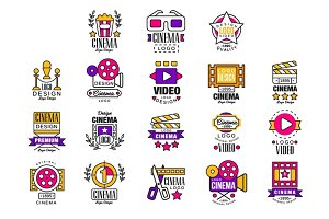 Cinema logo design set, video symbols in retro retro style vector Illustrations