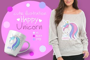 Happy Unicorn. Cute illustration.