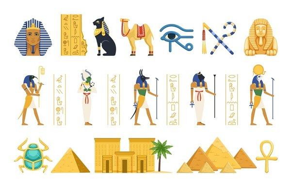 Egypt set, Egyptian ancient symbols…