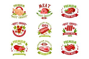 Premium quality fresh meat logo templates set, best choice since 1969 badge vector Illustrations