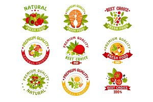Premium quality food logo templates set, natural products vector Illustrations