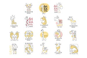 Cute little giraffe logo template original design set, vector Illustrations can be used for baby or toys shop, kids club