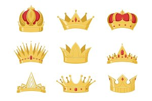 Royal golden crowns set, symbols of power of the king and queen vector Illustrations