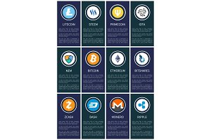 Cryptocurrency Symbols on Promotional Posters Set