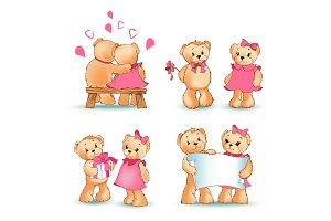 Teddy Bears Collection Love Vector Illustration