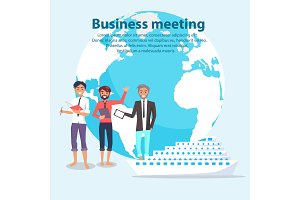 Business Meeting and Globe Vector Illustration