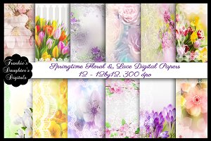 Springtime Floral & Lace Papers