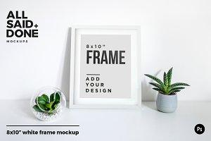 8x10 white frame scene on desk
