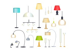 Modern Indoor Floor Lamps and Chandeliers Set