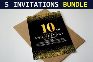 5 Invitation Cards Bundle