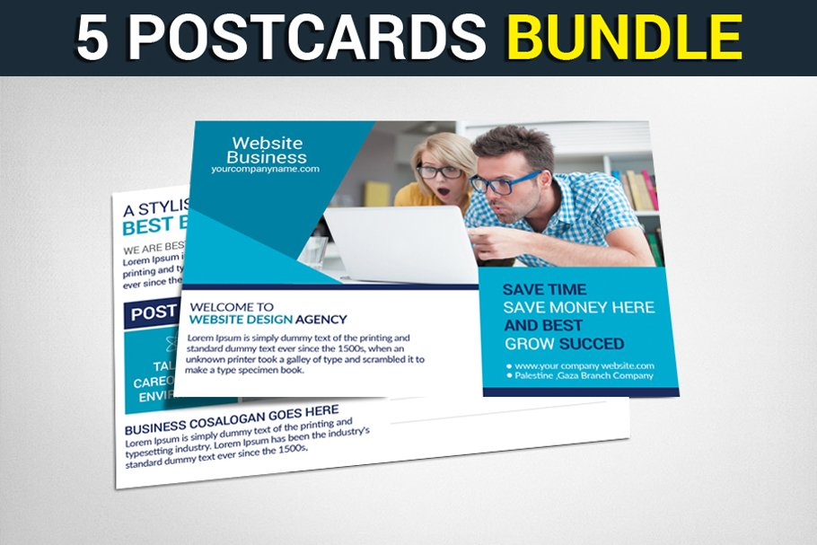 5 Multipurpose Business Postcards ~ Card Templates ~ Creative Market