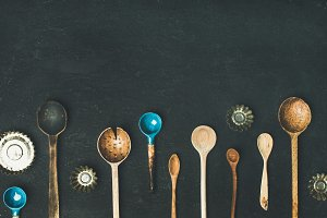 Various vintage kitchen spoons