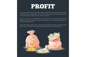 Profit Sacks Full of Money Vector Illustration Bag